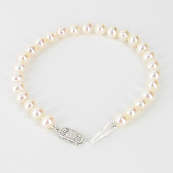 White Pearl Bracelet 6-6.5mm With Sterling Silver