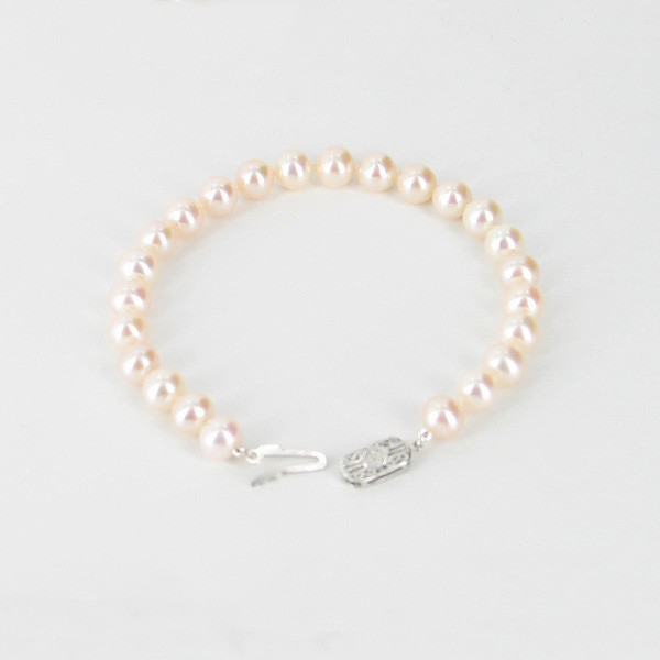 White Freshwater Pearl Bracelet 7-7.5mm With Sterling Silver