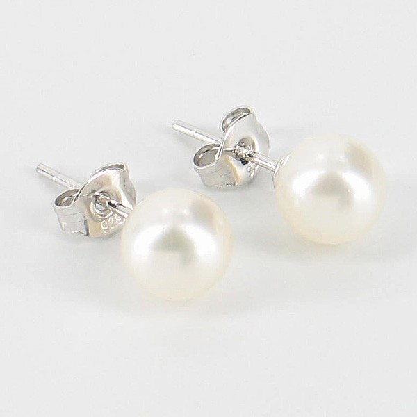 White Freshwater Pearl Stud Earrings 7-7.5mm On Sterling Silver