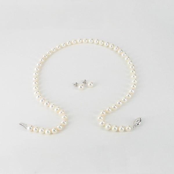 White Pearl Necklace & Earrings Gift Set 7-7.5mm With 9K White Gold