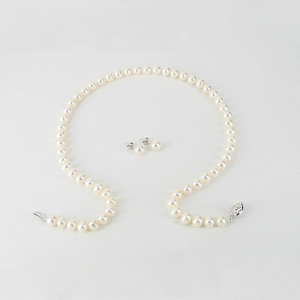 Anniversary Pearl Necklace & Earrings Gift Set 7-7.5mm With 9K White Gold
