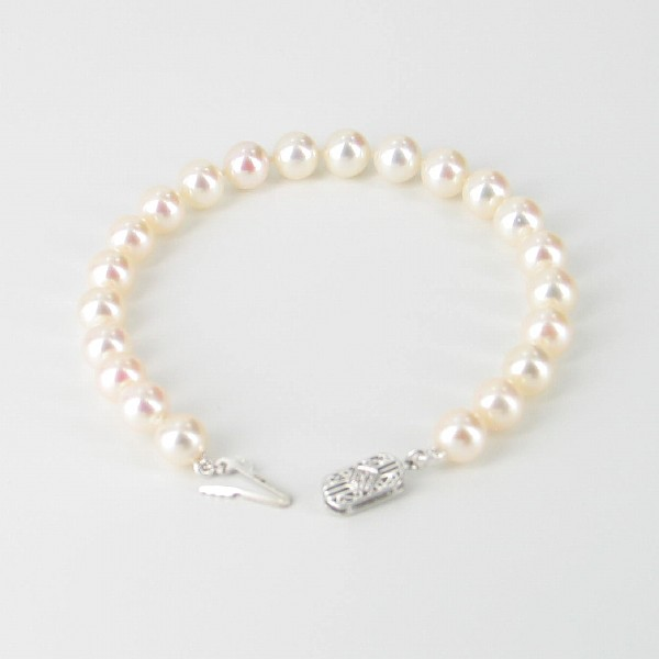 The Executive Round Pearl Bracelet AAA 7-7.5mm With 14K White Gold