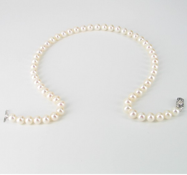 The Director Round Pearl Necklace AAA 7.5-8mm With 14K Gold