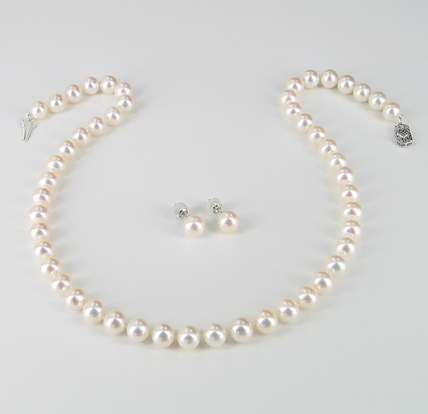 The Boss Pearl Necklace & Earrings Set 8-8.5mm With 14K White Gold