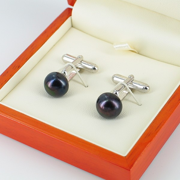 Black 11-12mm Button Pearl Cufflinks On Sterling Silver
