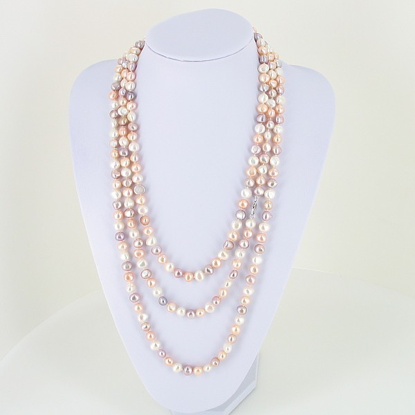 Two Metre Long Shanghai Style 8-9mm Baroque Pearl Necklace