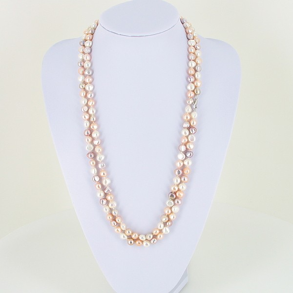Mini Shanghai Style Baroque Pearl Necklace With Sterling Silver