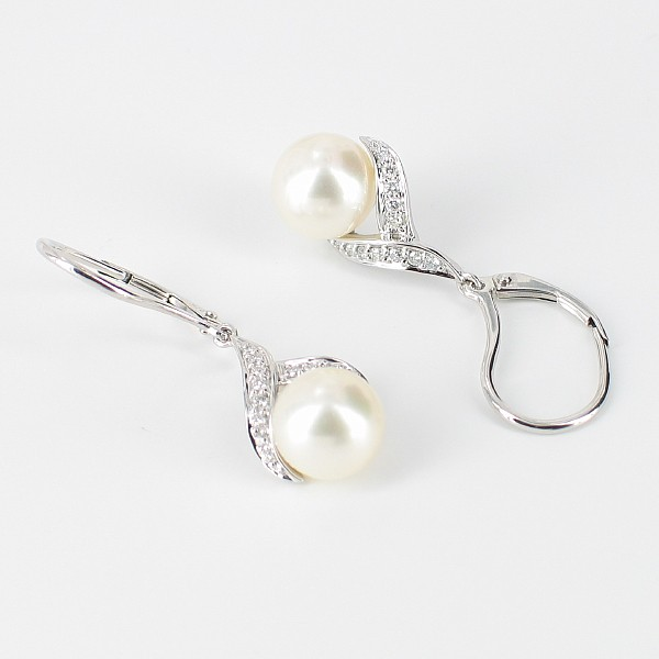 Pearl & Diamond Earrings 8-8.5mm 9K White Gold