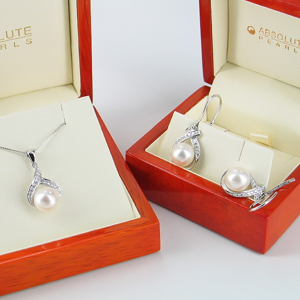 White Pearl & Diamond Pendant And Earrings Set 8-9mm 9K White Gold
