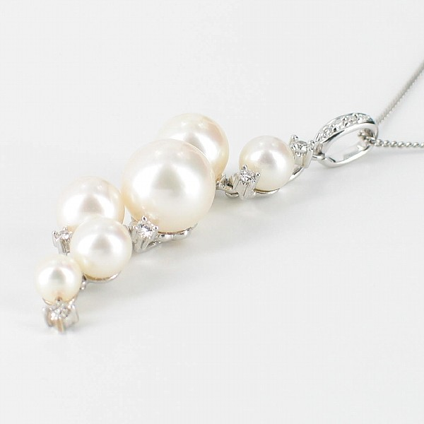 White Pearl & Diamond Pendant Necklace 9K White Gold
