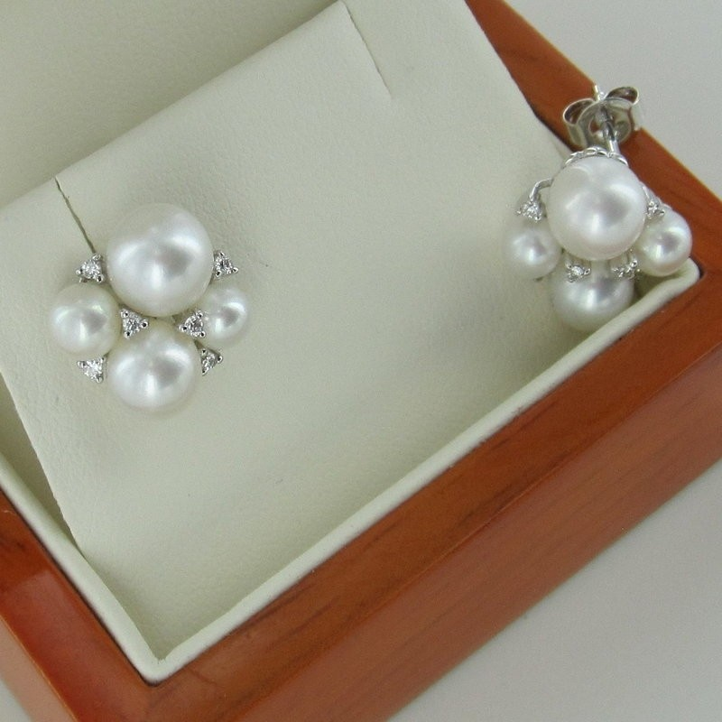 Pearl And Diamond Cluster Earrings 4-7.5mm on 9K White Gold