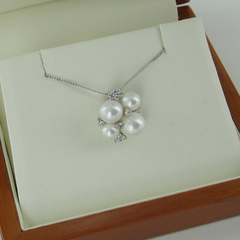 Pearl & Diamond Cluster Pendant Necklace 4.5-7.5mm 9K White Gold