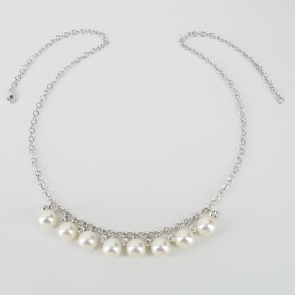 White 8-8.5mm Pearl & Topaz Necklace On Sterling SIlver Chain
