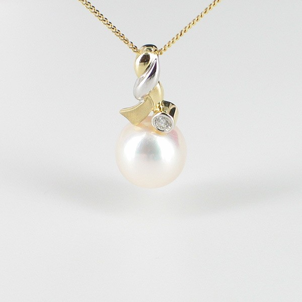 Pearl & Diamond Pendant Necklace 8-8.5mm With 9K White & Yellow Golds