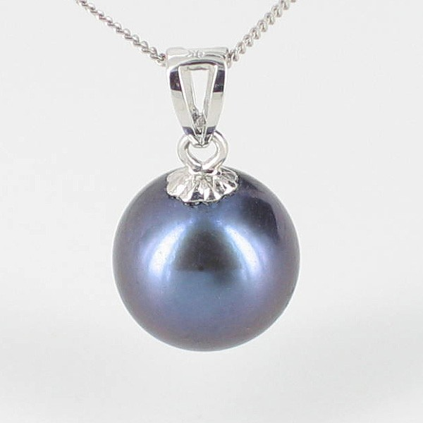 Large Freshwater Black Pearl Pendant Necklace 8.5-9mm On 9K White Gold