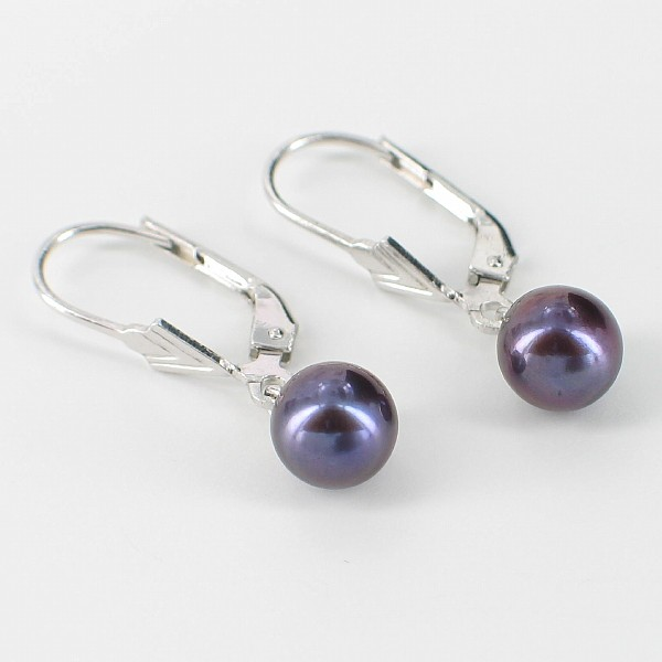Black Freshwater Pearl Leverback Earrings 7-7.5mm On Sterling Silver