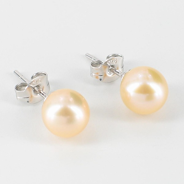 Pink Freshwater Stud Pearl Earrings 7-7.5mm On Sterling Silver