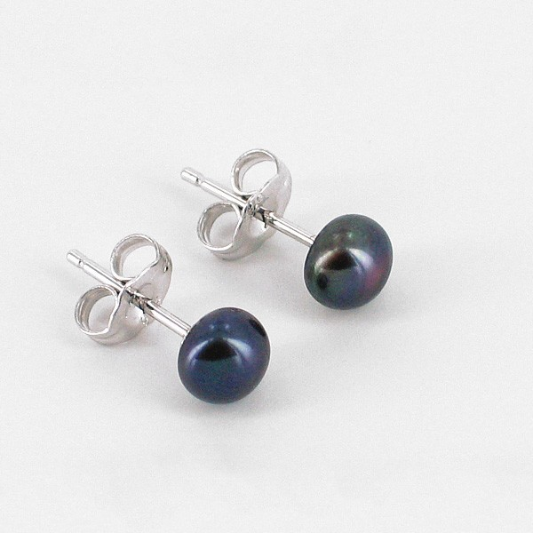 Black Stud Button Pearl Earrings 5.5-6mm On Sterling Silver
