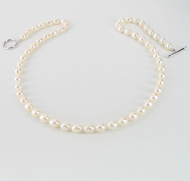 Freshwater Oval Pearl Necklace 6-6.5mm With Sterling Silver