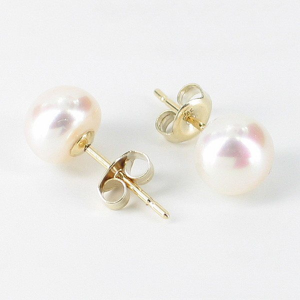 White Button Pearl Stud Earrings 7-7.5mm On 9K Yellow Gold