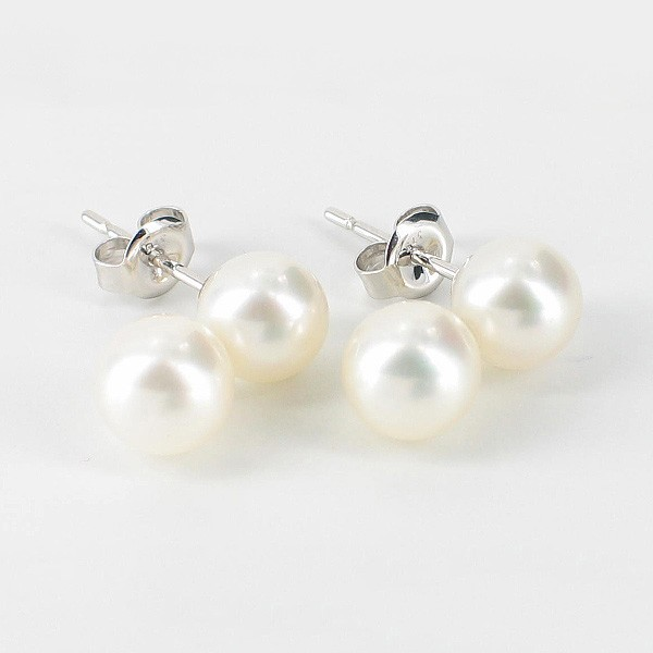Freshwater Double Pearl Stud Earrings 6.5-7mm On 9K White Gold