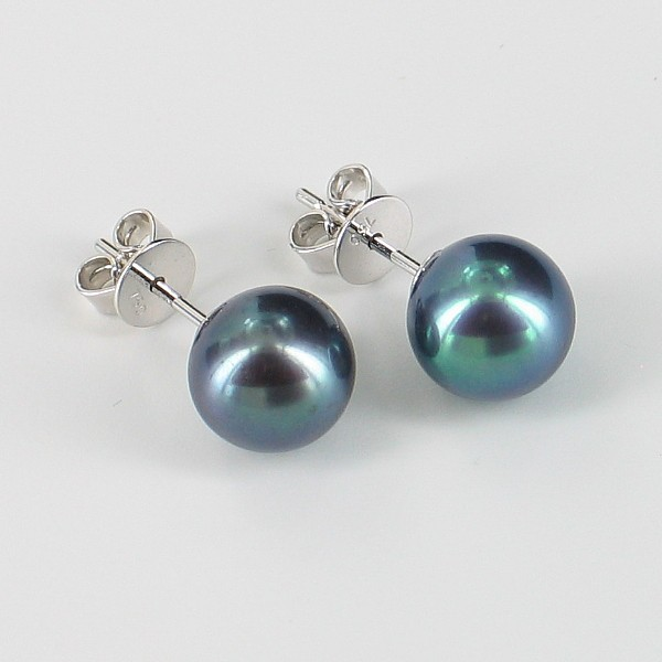 Large Black Pearl Stud Earrings 8-8.5mm AAA On 18K White Gold