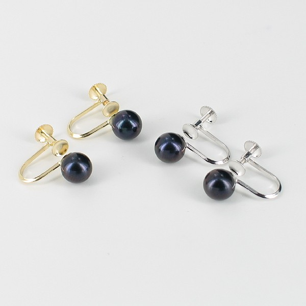 Non-Pierced Black Pearl Screw Earrings 6.5-7mm On 9K Yellow Or White Gold