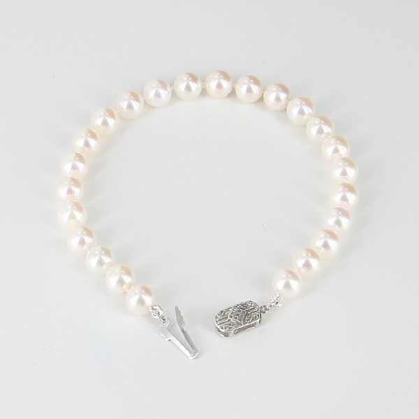 Classic Akoya Pearl Bracelet AAA 7-7.5mm With 14K White Gold