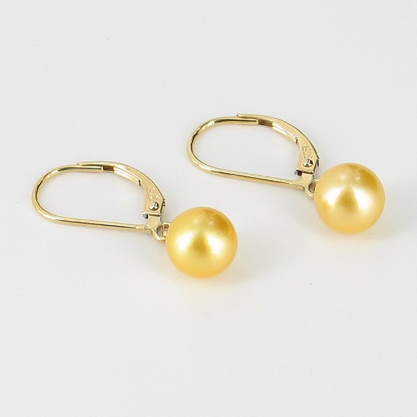 Golden Akoya Leverback Pearl Earrings 7-7.5mm On 9K Yellow Gold