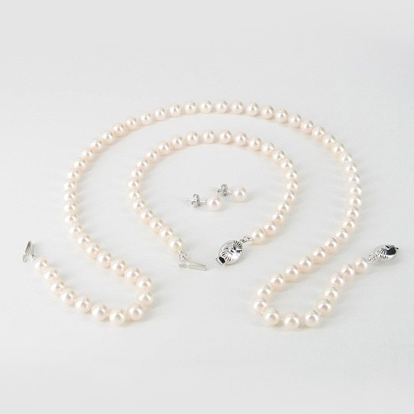 Akoya Pearl Necklace Set 6-6.5mm With 9K White Gold