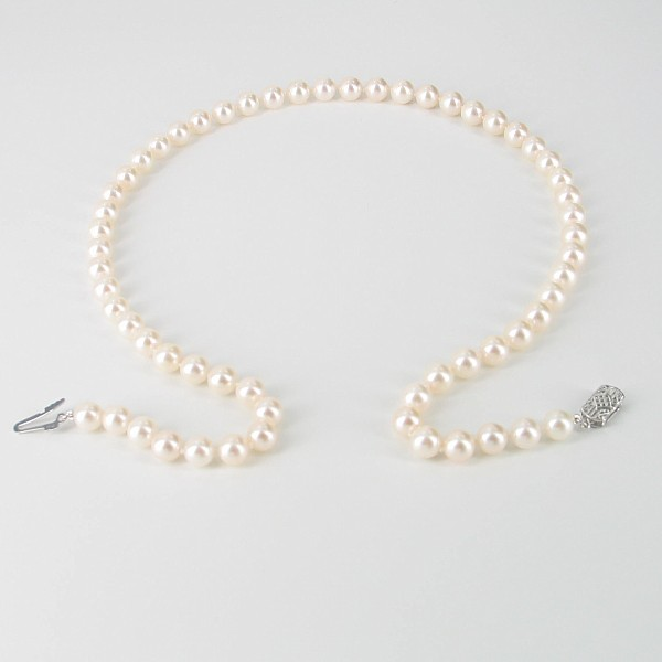 Akoya Saltwater Pearl Necklace 6.5-7mm With 14K White Gold