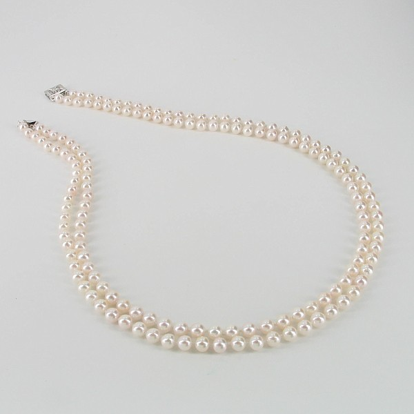 Double Strand Akoya Pearl Necklace 5-5.5mm With 14K White Gold