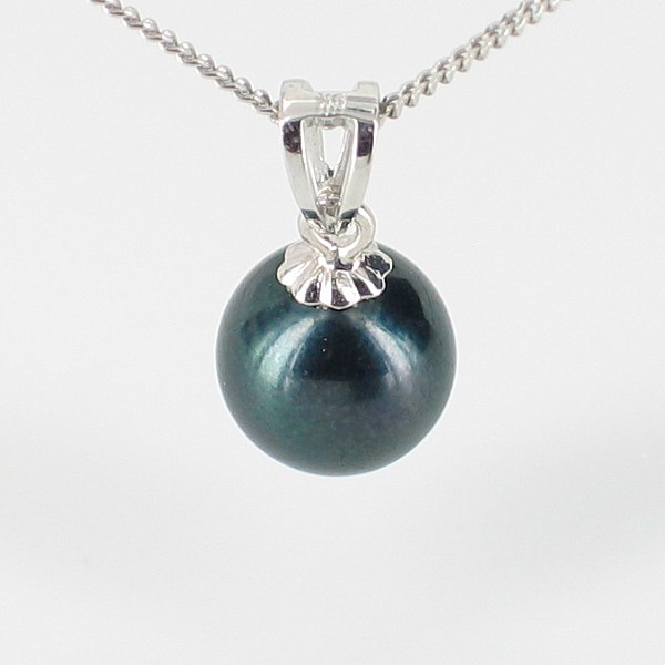 Black Akoya Pearl Pendant Necklace 7-7.5mm On 9K White Gold