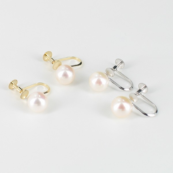 Non-Pierced Akoya White Pearl Screw Earrings 7.5-8mm On 9K Gold