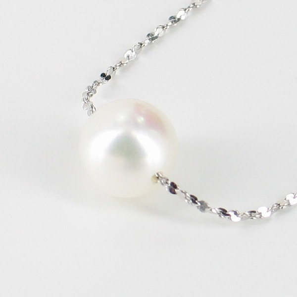 White Round Pearl Chain Pendant Necklace 8-8.5mm On Sterling Silver