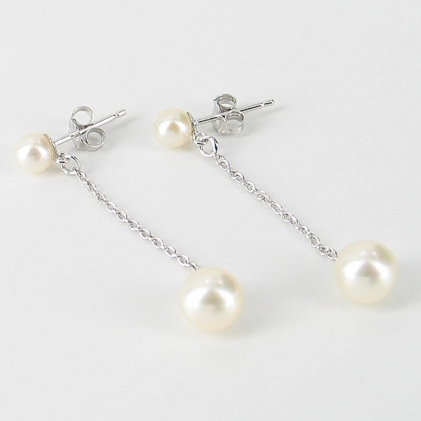 Round Pearl Silver Chain Drop Earrings 4.5-7.5mm On Sterling Silver