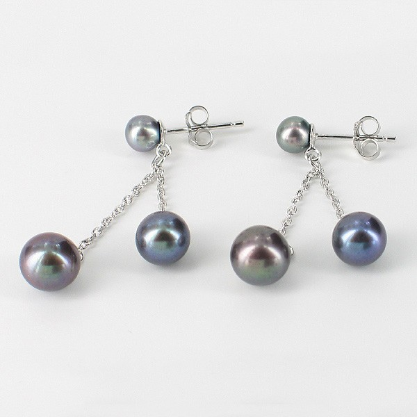 Double Drop Silver Chain Black Pearl Earrings 4.5-7.5mm On Sterling Silver