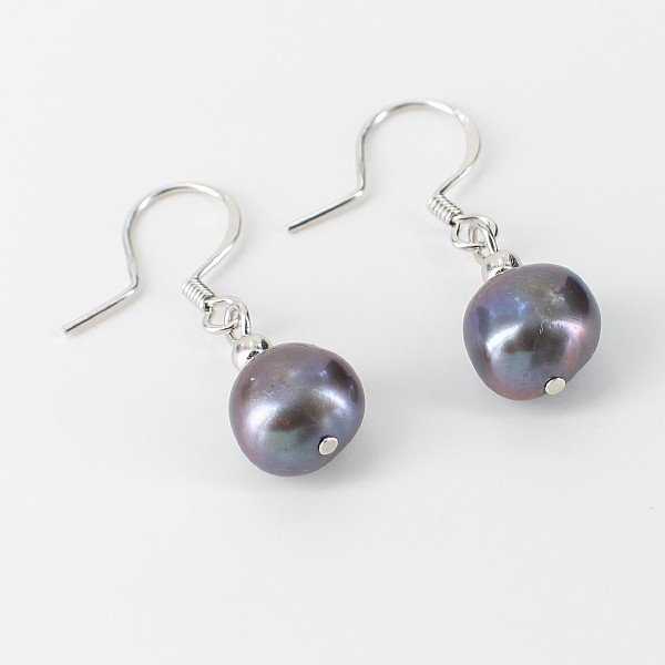 Black Baroque Freshwater Pearl Hook Earrings 9-10mm On Sterling Silver