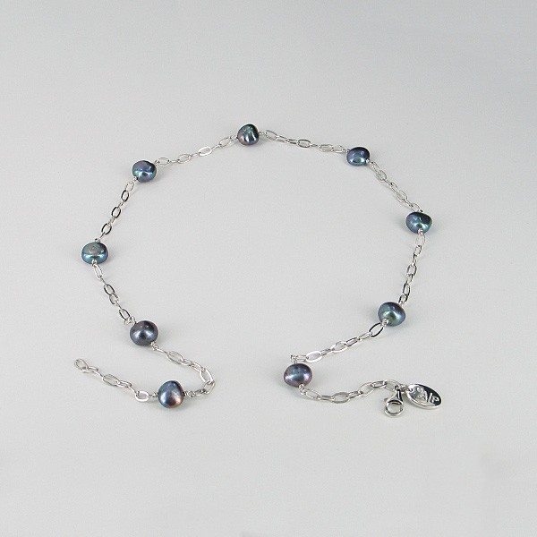 Baroque Pearl Silver Chain Necklace 9-10mm On Sterling Silver