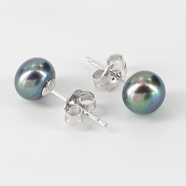Freshwater Black Button Pearl Stud Earrings 7-7.5mm On Sterling Silver