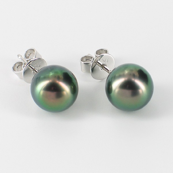 Black Tahitian Pearl Earrings 8-9mm On 9K White Gold
