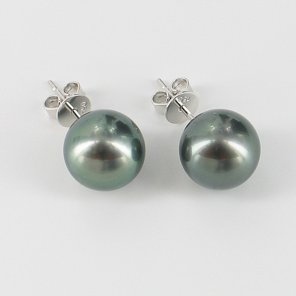 Large Black Tahitian Pearl Earrings 10.5-11mm on 18K White Gold