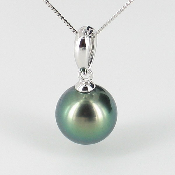 Tahitian Pearl Pendant Necklace 9-10mm With 9K Gold