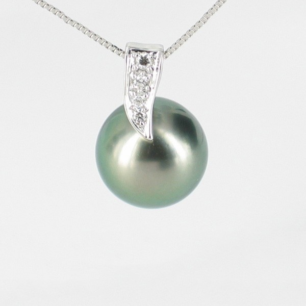 Tahitian Pearl & Diamond Pendant Necklace 10-11mm On 18K White Gold