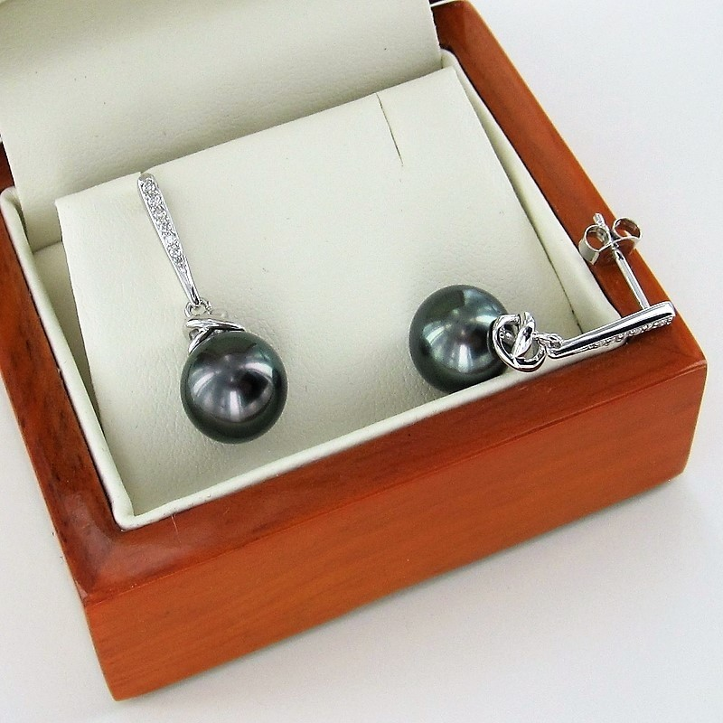 Black Tahitian Pearl & Diamond Earrings 9K White Gold