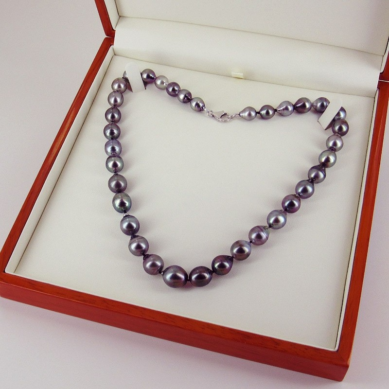 Graduated Tahitian Pearl Necklace Baroque  8.5-11mm With 18K White Gold