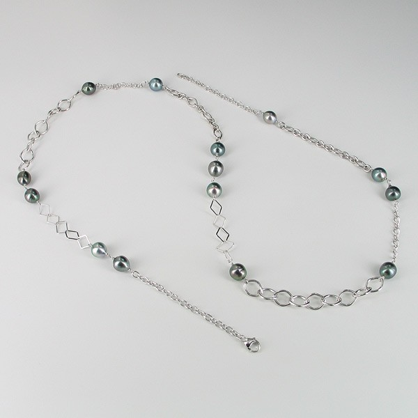 Tahitian Baroque Pearl Necklace 9-10mm On Sterling Silver Chain