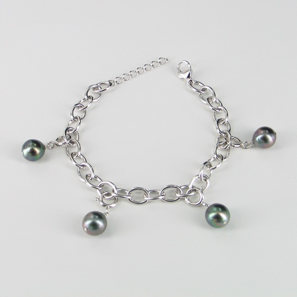 Tahitian Pearl Bracelet With Silver Chain Baroque On Sterling Silver
