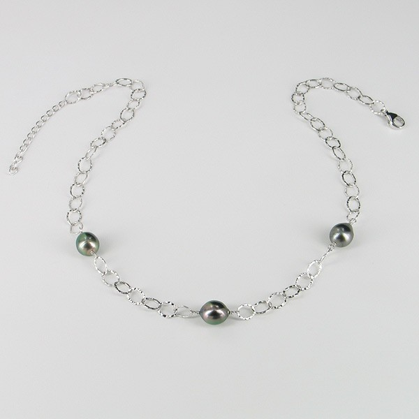 Tahitian Baroque Pearl Necklace 9-10mm On Sterling Silver Hammered Chain