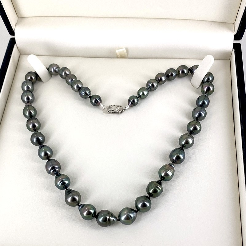 Graduated Tahitian Baroque 8-11mm Pearl Necklace 14K White Gold Clasp